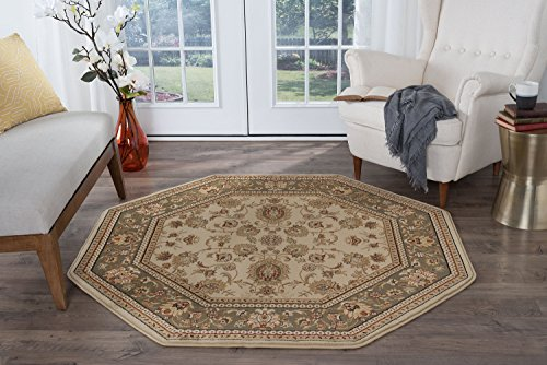 - Gabrielle Traditional Oriental Ivory Octagon Area Rug, 8' Octagon