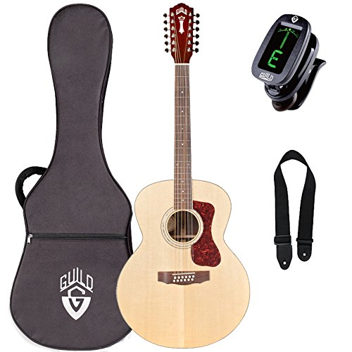 Guild F-1512E 12-String Jumbo Acoustic-Electric Guitar with Case, Tuner, and Strap