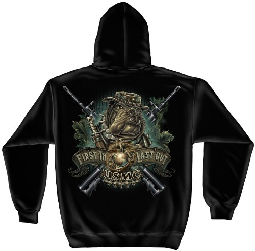 US Marine Corps Hooded Sweatshirt, 50/50 Cotton Poly Blend Casual Mens Shirts, Show Your Pride With Our Devil Dog First in Marine Corps Unisex Long Sleeve Sweatshirts for Men or Women (Black,Large)