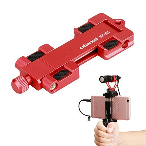 Ulanzi ST-03 Metal CNC Made Adapter Mobile Phone Holder Cold Shoe Mount,Cell Phone Tripod Holder Clip Adapter and Arca-Style Quick Release Plate for 4.3in to 7in Screen Smartphone?Red?