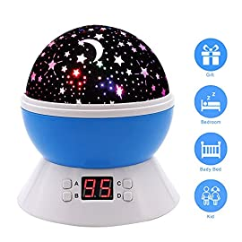 Star Sky Night Lamp,ANTEQI Baby Lights360 Degree Romantic Room Rotating Cosmos Star Projector With LED Timer Auto-Shut Off,USB Cable Plug For Kid Bedroom,Christmas Gift (Blue)