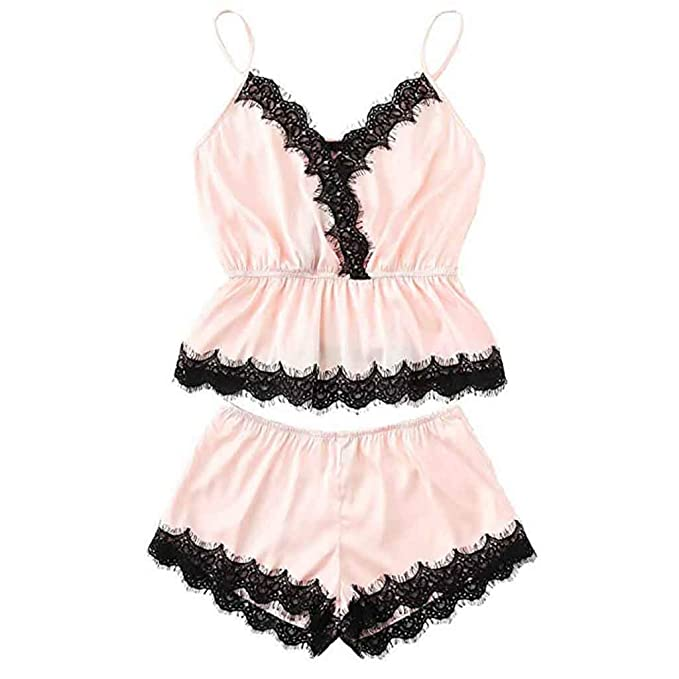 Internet_Conjunto de Pijama Cuello en v y Ropa Interior de Camisola de Encaje para Mujer, Babydoll Ropa de Dormir, Chaleco + Pantalones Cortos, ...