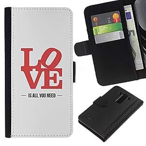 A-type (Love Is All You Need Poster Lyrics Red) Colorida Impresión Funda Cuero Monedero Caja Bolsa Cubierta Caja Piel Card Slots Para LG G3