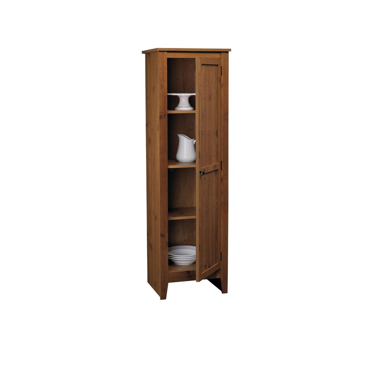 Amazon.com: Adeptus Solid Wood Single Door Pantry Cabinet, Pecan ...