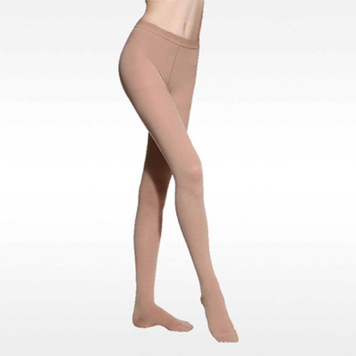 BriteLeafs Sheer Compression Pantyhose 15-20mmHg, Moderate Support, Closed Toe (Beige, Large)