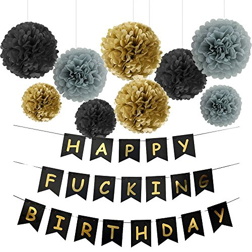 Happy FING Birthday Decoration Banner With Black Gold Grey Pom Poms Party Supplies for 21st 40th 50th Men Women Theme ()