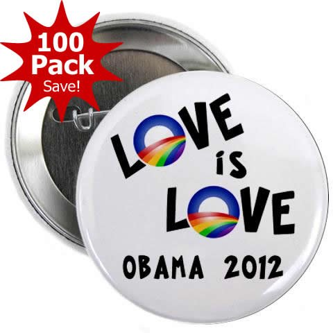 OBAMA Supports Same-Sex Marriage Love is Love LGBT Rainbow 100-Pack of 2.25 inch Pinback Button Badges