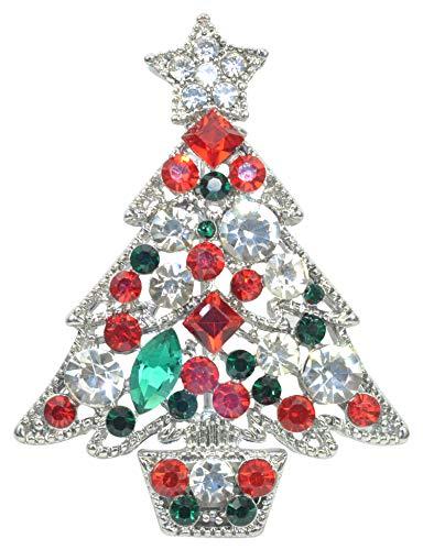 (Gyn&Joy Silver Tone Ruby Red Green Crystal Rhinestone Winter Holiday Christmas Tree Plant Lovely Pot Pin Brooch BZ215)