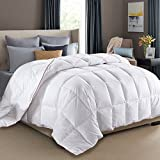 King Size Duvet Insert White Goose Down Feather Comforter 100% Cotton Cover Fluffy Bed Quilt Blanket All Season (King, White)