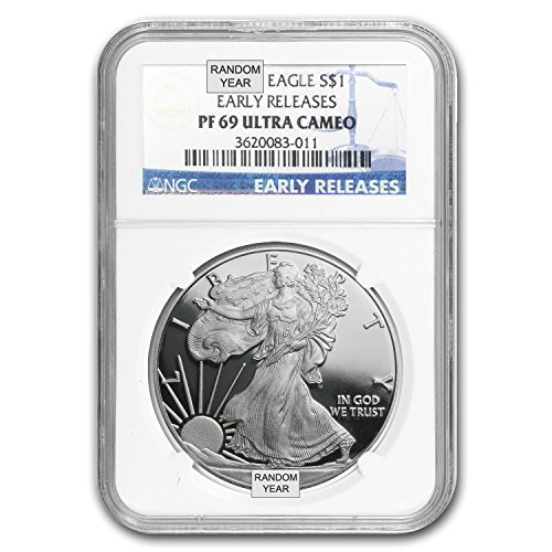 1986 – Present 1 oz Proof Silver American Eagle (Random Year) 1 OZ PF-69 NGC