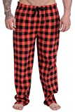 Wanted Men's Soft Cotton Pajama Flannel Lounge Pant (Red Buffalo Plaid, Medium)