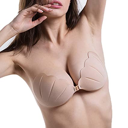 6069e4daaa1 Yibaision Sticky Bra Backless Strapless Self Adhesive Deep V Pushup Bra  Invisible Low Cut Reusable for