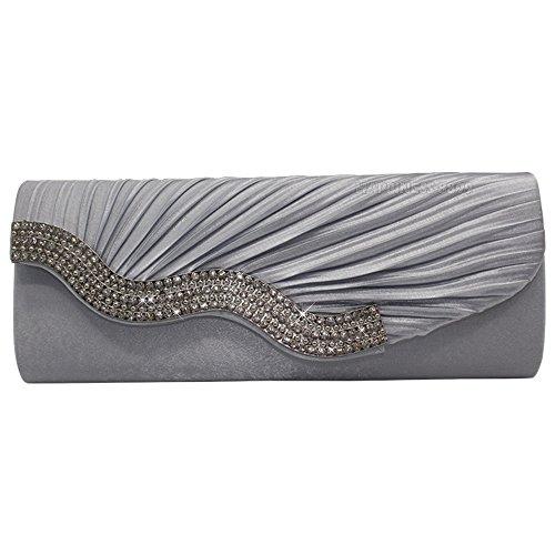 Wocharm Womens Prom Evening Clutch Bag Handbag Satin Crystal Diamante Wedding Ladies Party Silver