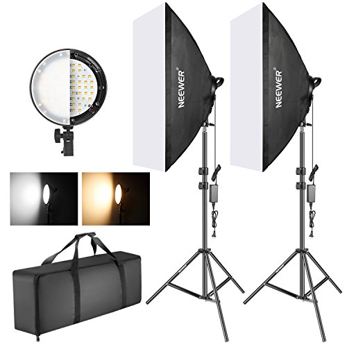 (Neewer Photography Bi-color Dimmable LED Softbox Lighting Kit:20x27 inches Studio Softbox, 45W Dimmable LED Light Head with 2 Color Temperature and Light Stand for Photo Studio Portrait,Video Shooting )