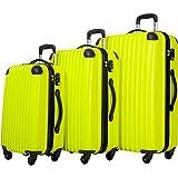 Cheap Travelhouse 3 Piece Spinner Luggage Set with TSA Lock (Yellowish Green & Black)