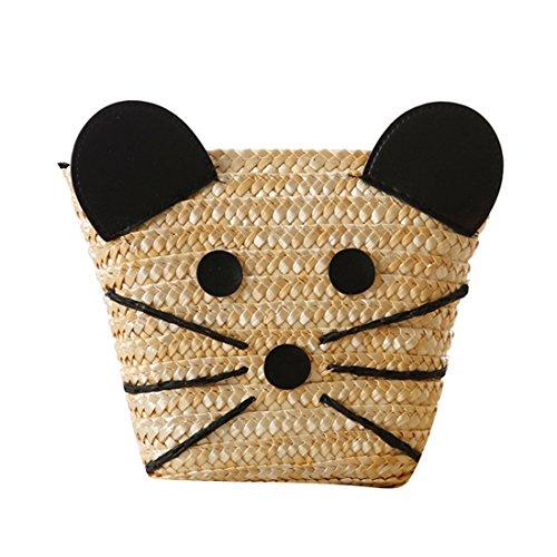 Dunland Verano paja bolsos Top mango mochila Tejido de ratón naturaleza playa bolso bolsas A12