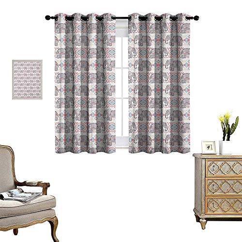 Warmer Elephant Oil Tribal - Warm Family Elephant Room Darkening Wide Curtains Colorful Ethnic Art Pattern with Tribal Elements and Asian Folkloric Influences Decor Curtains by W72 x L63 Multicolor