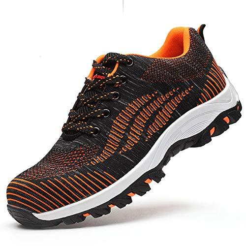 Arbeitsschuhe Herren tone Ali mit Schuhe Unisex S3 Sportlich Schutzschuhe Damen Turnschuhe Trekking Hiking Leicht Atmungsaktiv Orange Sicherheitsschuhe Stahlkappe Wanderhalbschuhe Rww5qBx