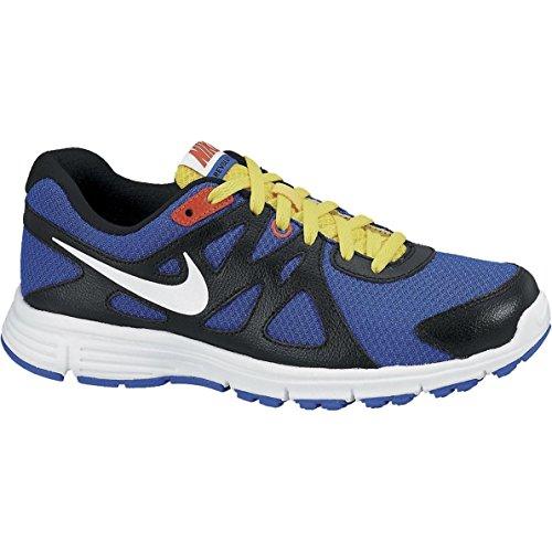 Nike Revolution 2 GS - Zapatillas para hombre, color azul / negro / blanco / amarillo, talla 38.5