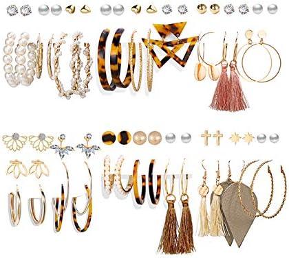 36 Pairs Luxury Earrings Studs Women School Crystal Rhinestone Stud Jewelry Set