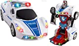 WolVol Transformers Robot Police Car Toy with Lights and Sounds for Kids - with Bump and Go Action