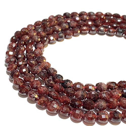 [ABCgems] Madagascan Cranberry Garnet (Exquisite Color) Tiny 6mm Micro-Faceted Diamond-Cut Checkerboard Coin Beads (A Revolutionary Cutting Process- More Surface to Reflect Light)