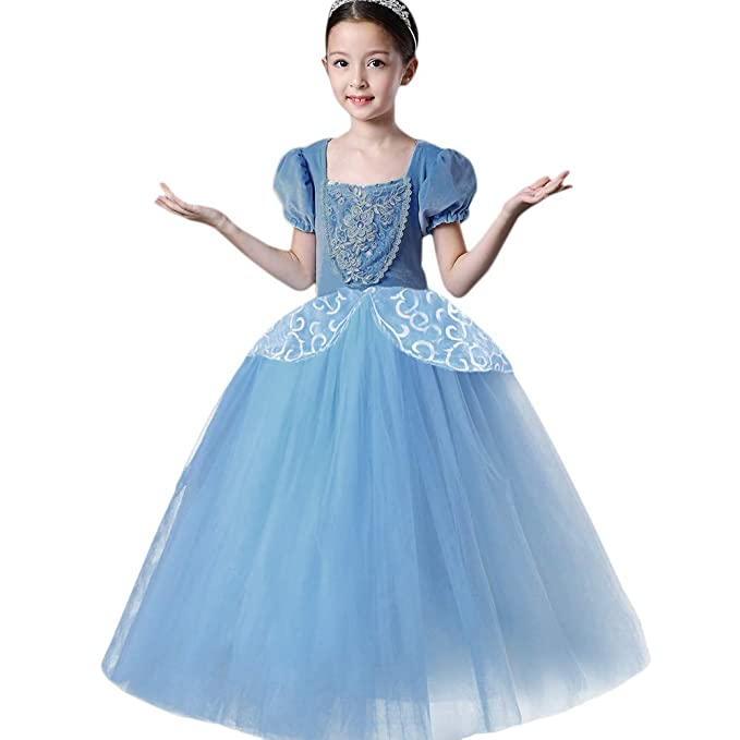 FYMNSI Trajes de Princesa Cenicienta para Niñas, Infantil Cinderella Disfraz Manga Corta Ceremonia Boda Tutu Vestido Largo de Tul para Carnaval ...