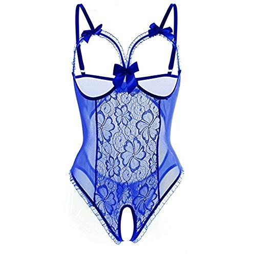 (Open Back Lingerie Lace Babydoll Sleepwear Plus Size Blue)