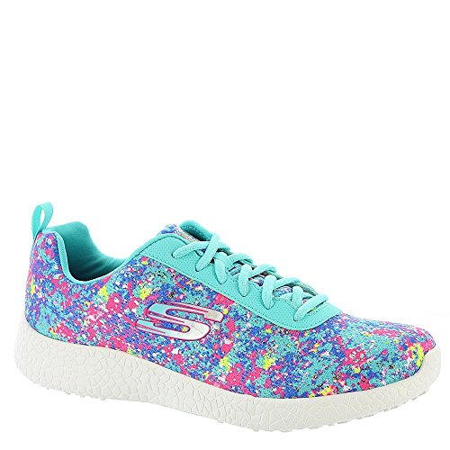 Skechers Women's Burst Illuminations Lace up,Turquoise/Multi,US 6.5 M