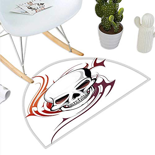 Tribal Flame Designs - Tattoo Semicircle Doormat Scary Fierce and Wild Skull with Red Flames Tribal Artistic Tattoo Image Design Halfmoon doormats H 35.4