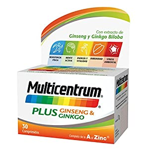 Multicentrum Plus complemento alimenticio con 13 Vitaminas, 8 Minerales, Ginseng y Ginkgo Biloba, Con Vitamina B1, Vitamina B6, Vitamina B12, Hierro, Vitamina C, Vitamina D, 30 Comprimidos 4
