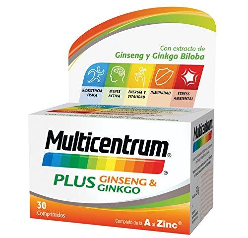Multicentrum Plus complemento alimenticio con 13 Vitaminas, 8 Minerales, Ginseng y Ginkgo Biloba, Con Vitamina B1, Vitamina B6, Vitamina B12, Hierro, Vitamina C, Vitamina D, 30 Comprimidos 1