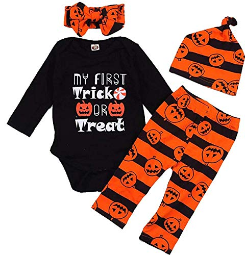 Newborn Baby Boys Girls My First Trick Treat Romper+Pans+Head Band+Hat Clothes Set 4Pcs (Black&Orange, 3-6 Month)