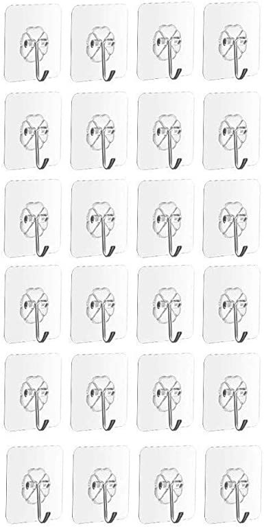 24Pcs  Bathroom Kitchen Strong Transparent Suction Cup Sucker Wall Hooks Hanger