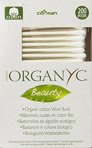 Organyc 100% Organic Cotton Swabs for Sensitive Skin, 200 Swabs