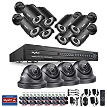 SANNCE 1080P 16CH Video Security System and (12) 1080P CCTV Cameras with IP66 Weatherproof Housing, 100ft Superior Night Vision, NO HDD