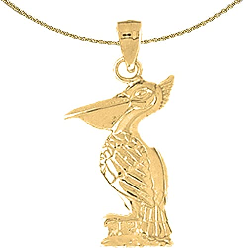 Rhodium-plated 925 Silver Pelican Pendant with 16 Necklace Jewels Obsession Pelican Necklace