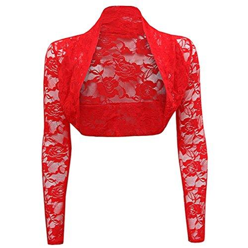 Cayuan Coprispalle Corto Donna Maniche Lunghe Pizzo Cardigan Ritagliata Bolero Shrug Giacca Elegante Rosso