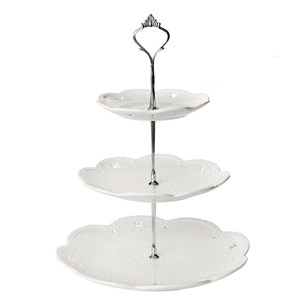 CDM product Elisona-3-Tier European Style Ceramic Tea Serving Platter Cupcake Fruit Dessert Display Stand Holder for Wedding Party Silver big image