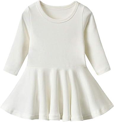 BGIRNUK Girls Baby Dress Infant Toddler Girl Ruffles Long Sleeves Cotton Dress