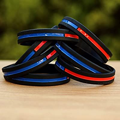 Combined Thin Red and Thin Blue Line Wristbands