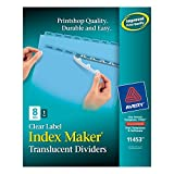 Avery Index Maker Translucent Dividers with Color Labels, 8-Tab, Letter Size (8.5 x 11), Blue, 8 per Set (11453)