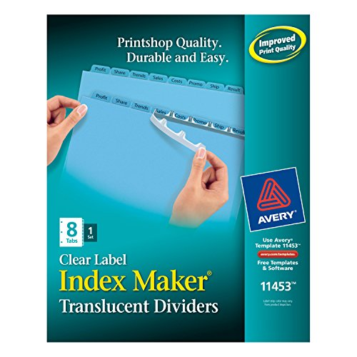 Avery Index Maker Translucent Dividers with Color Labels, 8-Tab, Letter Size (8.5 x 11), Blue, 8 per Set (11453) by Avery