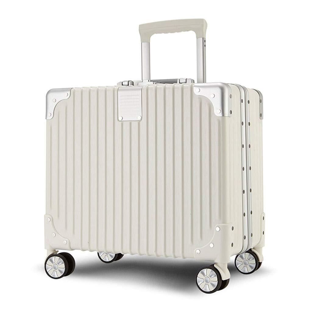 FRF トロリーケース- ユニバーサルホイールアルミフレームトロリーケースビジネス搭乗パスワードボックス17インチ男性と女性 (色 : 白, サイズ さいず : 17in) 17in 白 B07QQGQK52