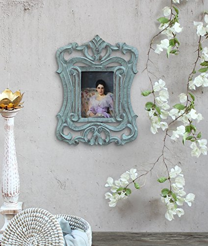 Traditions Wall Photo Frame (French Style Wooden Single Picture Photo Frame 5 x 7 Wall Mounted Rustic Blue Finish Handmade Vintage Home Living Room)