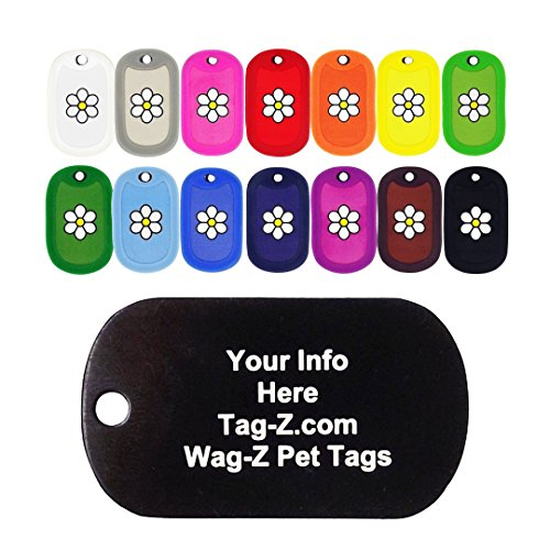 Flower Choose Color (Custom Engraved Pet Tag - Daisy Flower Tag - 14 colors to Choose From! - Tag-Z Wag-Z Pet Tags)