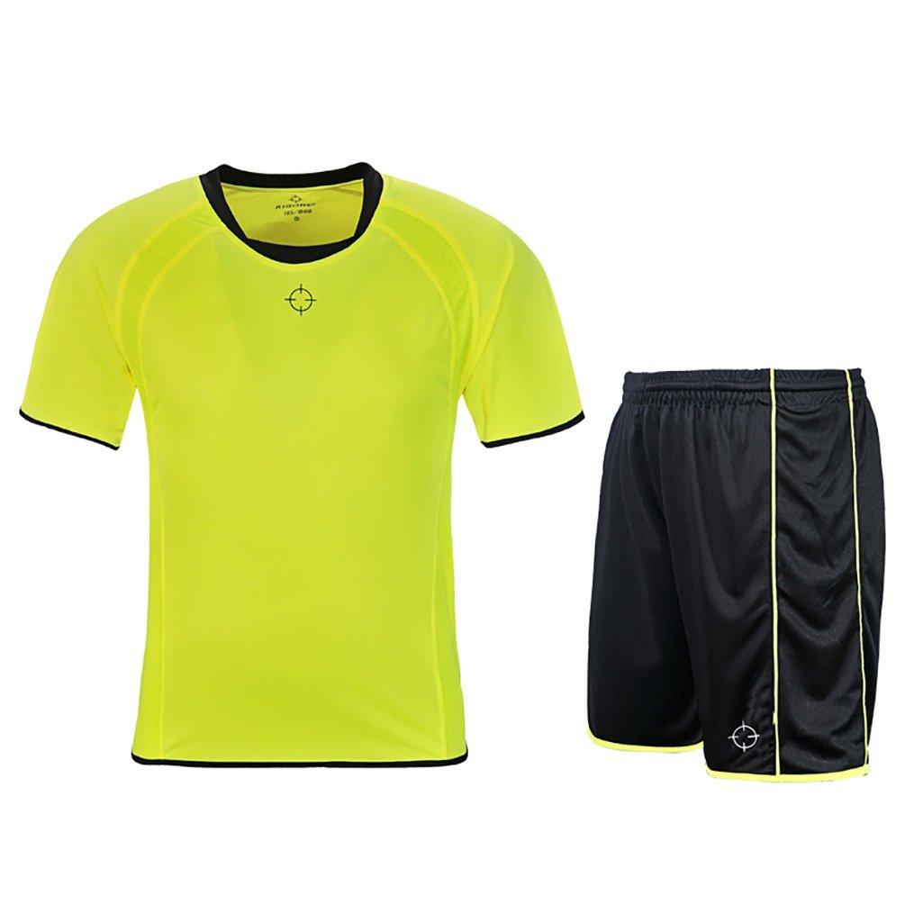 rigorerキッズ男の子女の子サッカージャージーと短パントレーニングジャージーセット半袖Soccer Uniform B0776V7CY4 130|イエロー/ブラック イエロー/ブラック 130