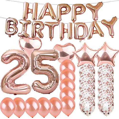 Sweet 25th Birthday Decorations Party Supplies,Rose Gold Number 25 Balloons,25th Foil Mylar Balloons Latex Balloon Decoration,Great 25th Birthday Gifts for Girls,Women,Men,Photo Props
