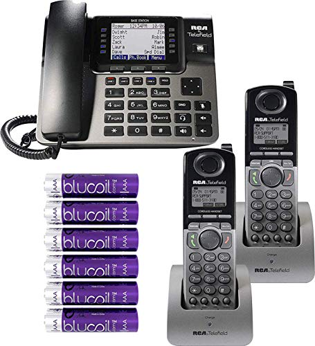 RCA U1000 Unison Base Station - 4 Line Phone Systems for Small Business with Digital Receptionist Bundled with RCA U1200 Cordless Accessory Handsets (2-Pack) and 6 Blucoil AAA Batteries (Cordless Phone System Accessory Digital)