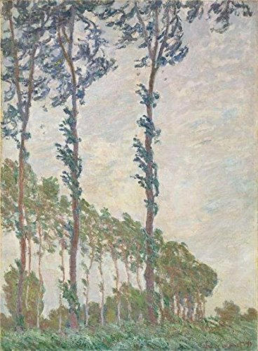 Oil Painting 'Wind Effect, Sequence Of Poplars, 1891 By Claude Monet' Printing On Perfect Effect Canvas , 24x33 Inch / 61x83 Cm ,the Best Living Room Decoration And Home Decor And Gifts Is This High Definition Art Decorative Canvas Prints